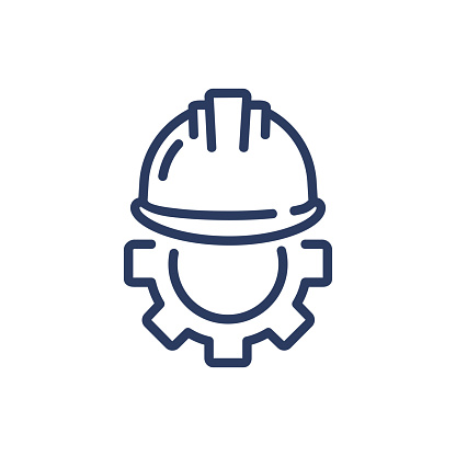 Helmet and gear thin line icon