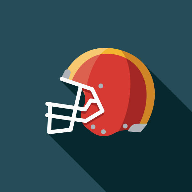 Helmet Flat Design Football Game Icon A flat design styled icon with a long side shadow. Color swatches are global so it's easy to edit and change the colors. football helmet stock illustrations