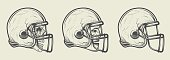 Helmet for game in the American football.