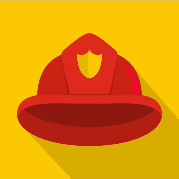 Helmet icon, flat style Helmet icon. Flat illustration of helmet vector icon for web fire hose stock illustrations