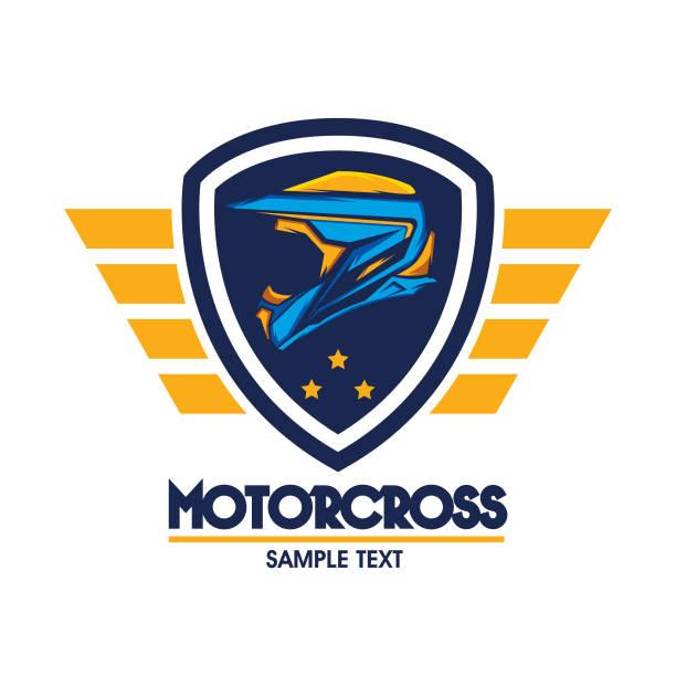 helm-motocross-vektor-design-vorlage - freilauf stock-grafiken, -clipart, -cartoons und -symbole