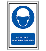 Helmet Must Be Worn In This Area Symbol Sign, Vector Illustration, Isolate On White Background Label .EPS10