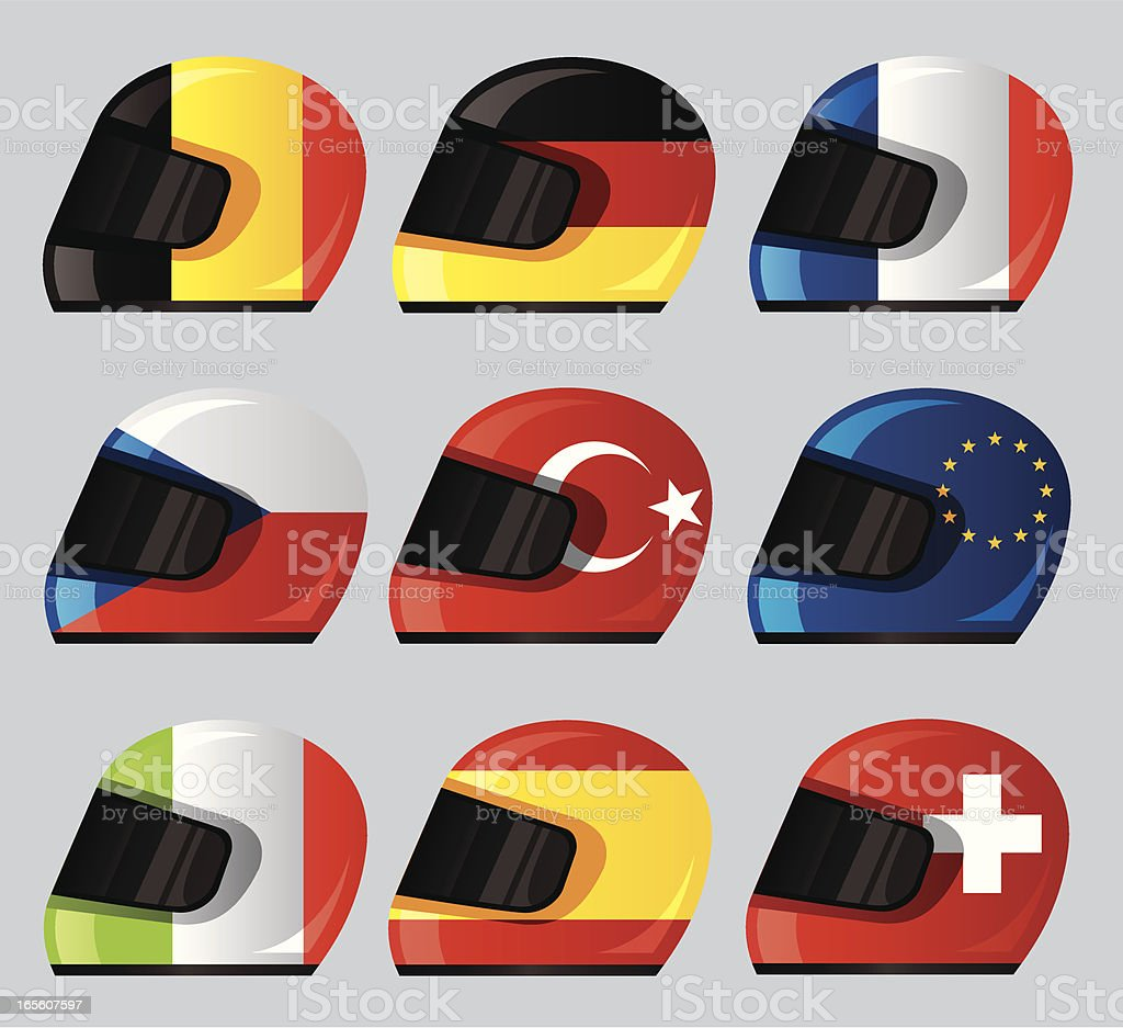 Helmet National Flag Icon royalty-free stock vector art