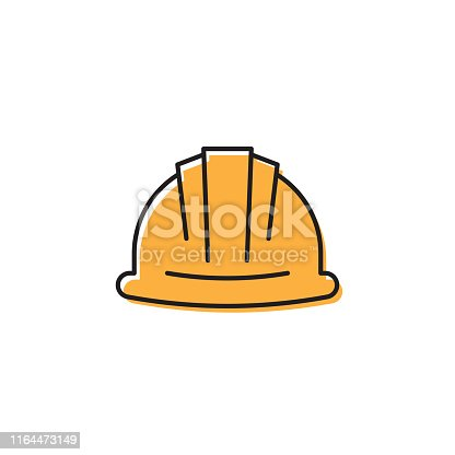 Helmet or hard hat vector icon symbol isolated on white background