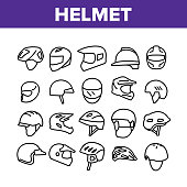 Helmet Rider Accessory Collection Icons Set Vector