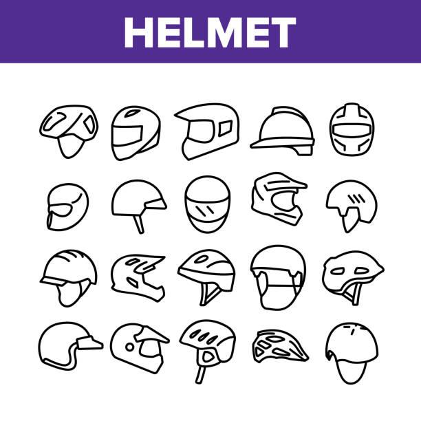 헬멧, 라이더, 액세서리, 컬렉션, 아이콘, 세트 벡터 - 모자 모자류 stock illustrations