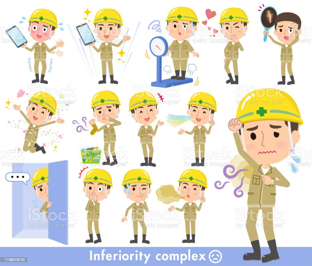 helmet worker men_complex vector art illustration
