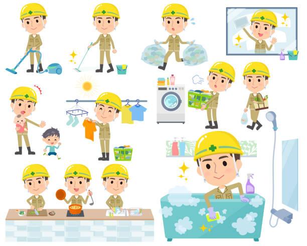 bildbanksillustrationer, clip art samt tecknat material och ikoner med hjälm arbetare men_housekeeping - construction workwear floor
