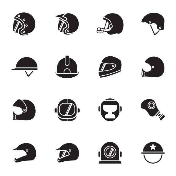 symbole für helme und masken - sportschutzhelm stock-grafiken, -clipart, -cartoons und -symbole