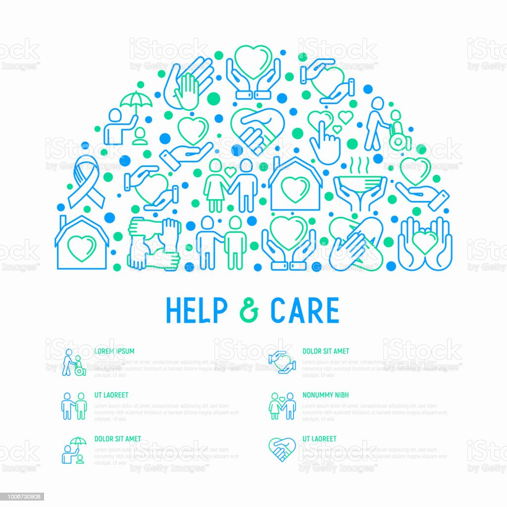 help and care concept in half circle with thin line icons symbols of