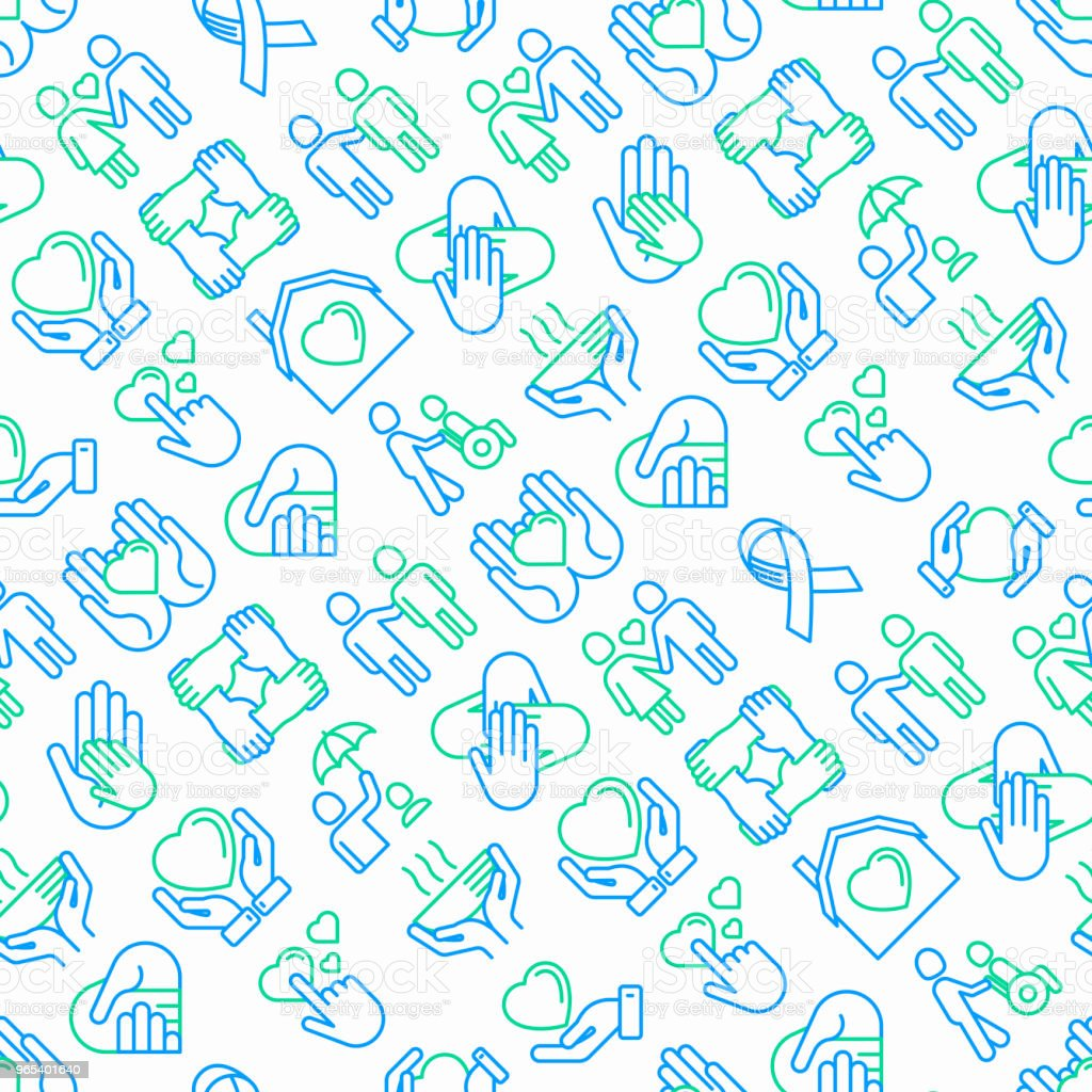 Help and care seamless pattern with thin line icons: symbols of support, help for children and disabled, togetherness, philanthropy and donation. Modern vector illustration. help and care seamless pattern with thin line icons symbols of support help for children and disabled togetherness philanthropy and donation modern vector illustration - stockowe grafiki wektorowe i więcej obrazów biznes royalty-free