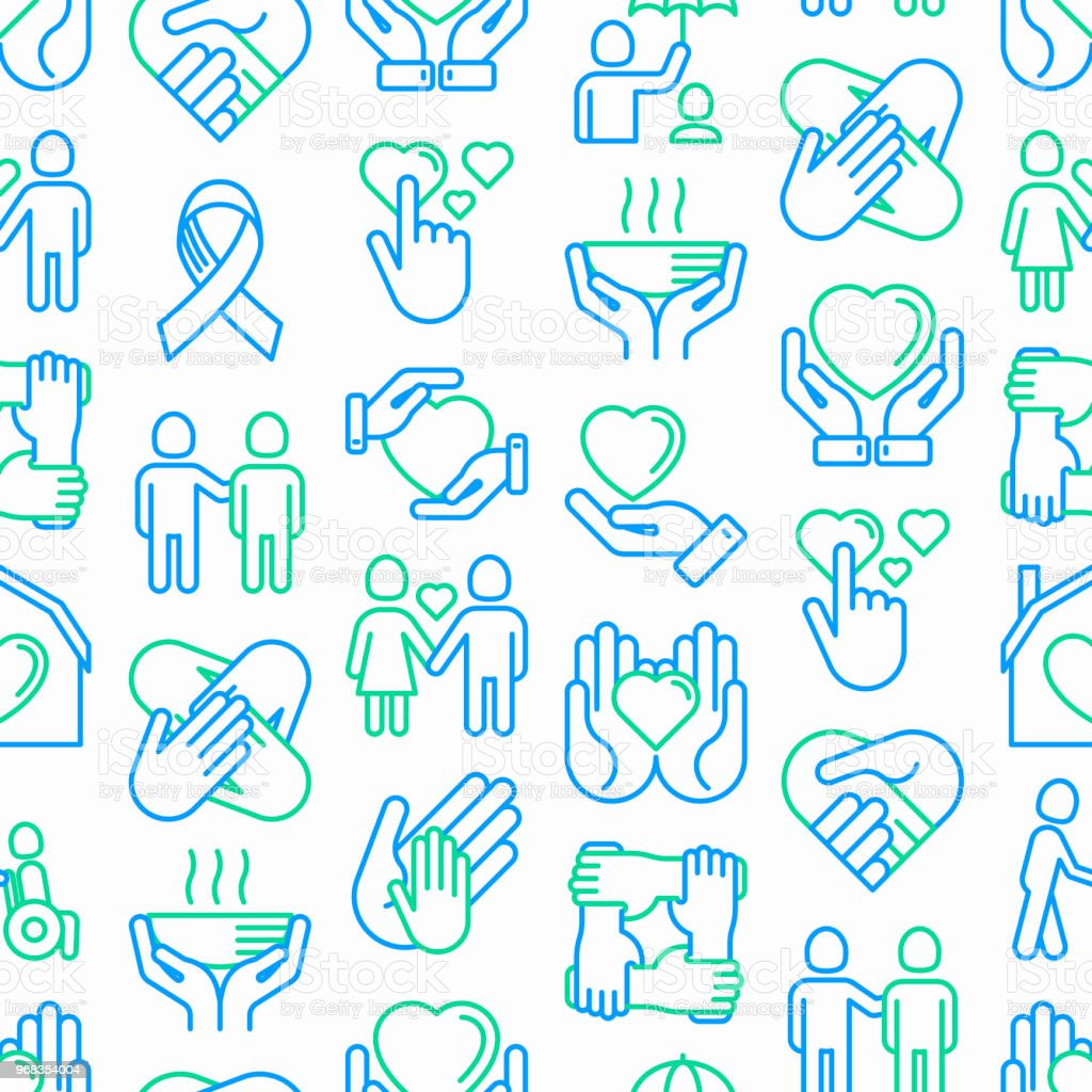 Help And Care Seamless Pattern With Thin Line Icons Symbols Of