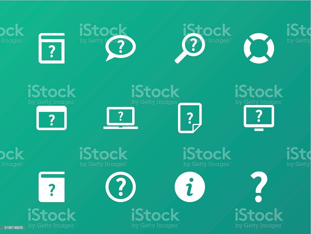 Help and FAQ icons on green background. vector art illustration