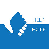 Hand holding hand for help and hope icon icon vector graphic design.