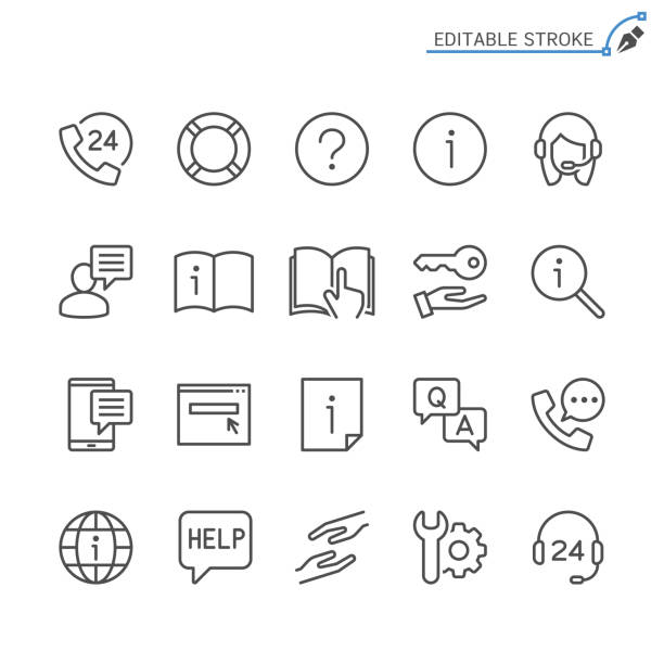 Help and support line icons. Editable stroke. Pixel perfect. Simple vector line Icons. Editable stroke. Pixel perfect. a helping hand stock illustrations