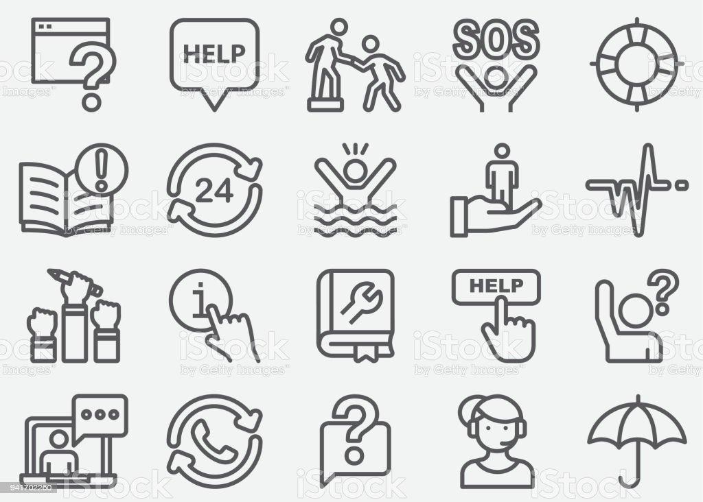 Aide et Support ligne icônes - Illustration vectorielle