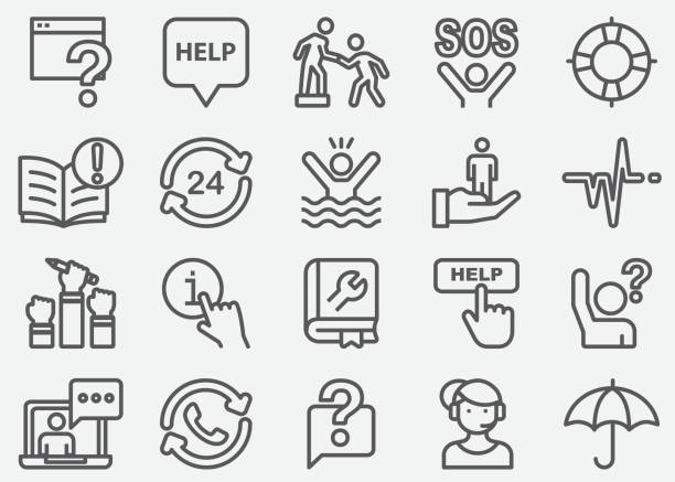 help and support line icons - помощь stock illustrations