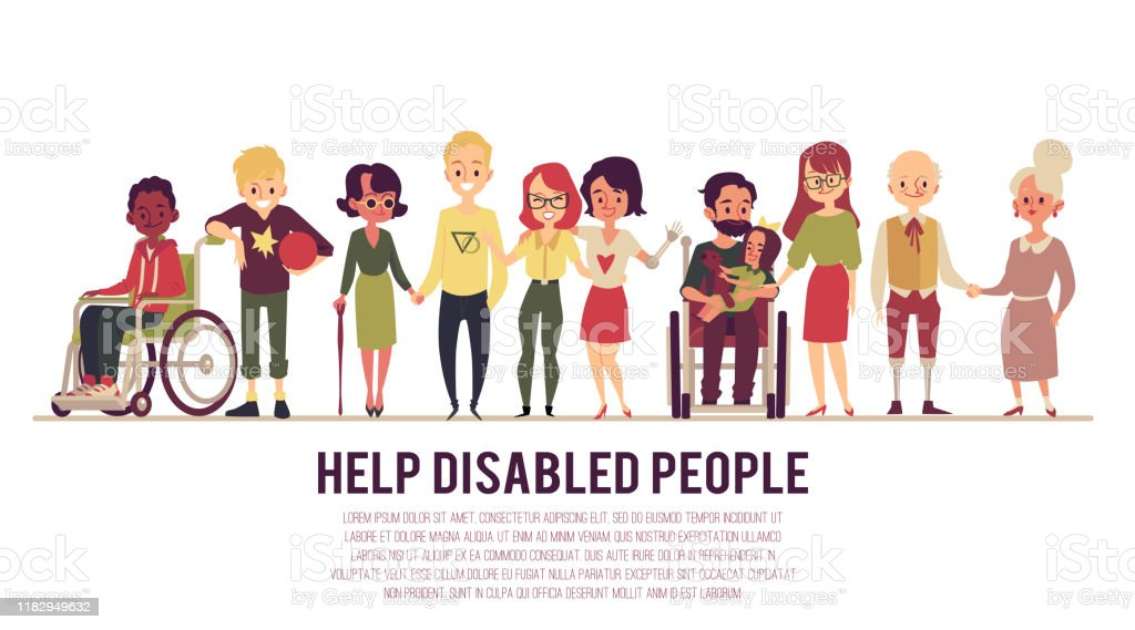 Help and support of disabled people banner flat vector illustration isolated. - Grafika wektorowa royalty-free (Clip Art)