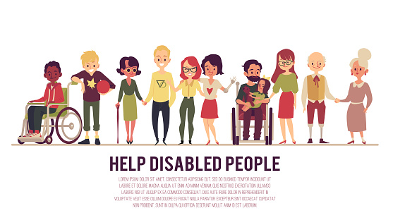 Help And Support Of Disabled People Banner Flat Vector Illustration Isolated - Stockowe grafiki wektorowe i więcej obrazów Clip Art