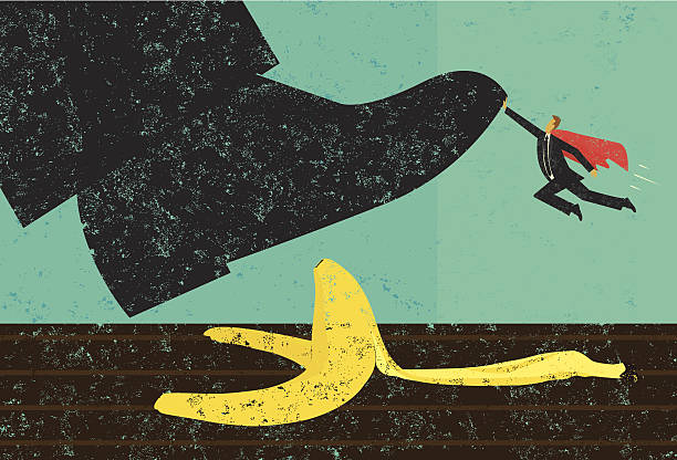 Help avoiding mistakes A miniature, super businessman saves someone from slipping on a banana peel. The shoe, man, and banana peel are on a separately labeled layer from the background. RETROROCKET stock illustrations