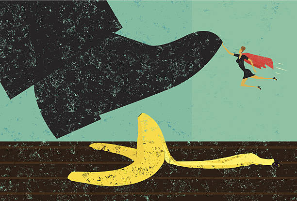 Help avoiding mistakes A miniature, super businesswoman saves someone from slipping on a banana peel. The shoe, woman, and banana peel are on a separately labeled layer from the background. RETROROCKET stock illustrations