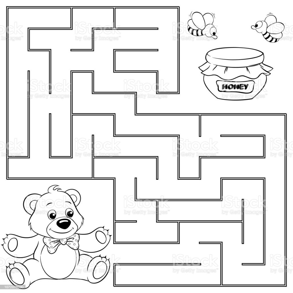 Ayi Tatlim Yolu Bulun Yardimci Olur Labirent Maze Oyunu Cocuklar