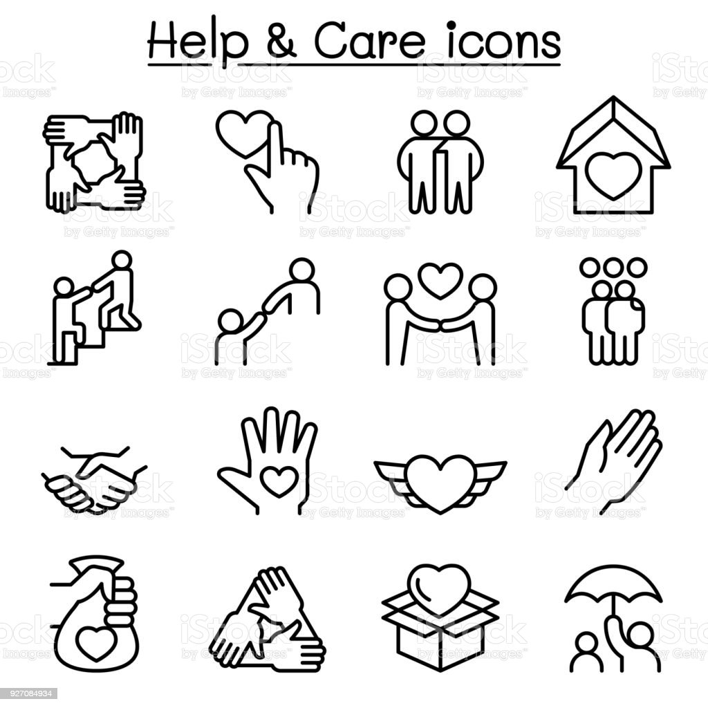 Help, care, Friendship, Generous & Charity icon set in thin line style vector art illustration