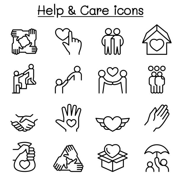 help, care, friendship, generous & charity icon set in thin line style - friends stock illustrations