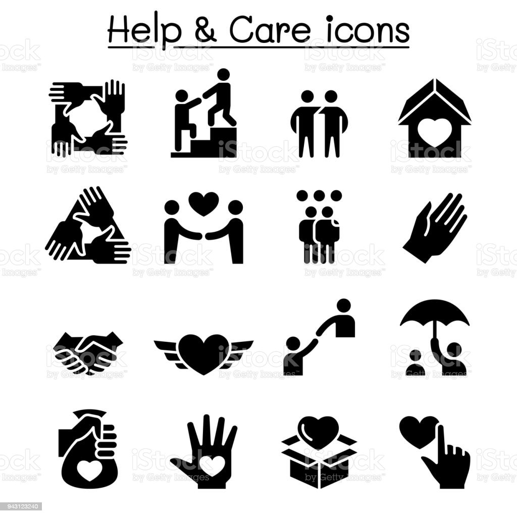 Help, care, Friendship, Generous & Charity icon set royalty-free help care friendship generous charity icon set stock illustration - download image now