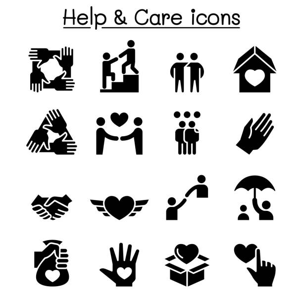 Help, care, Friendship, Generous & Charity icon set Help, care, Friendship, Generous & Charity icon set a helping hand stock illustrations