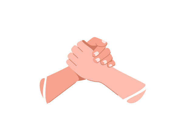 Help concept vector illustration. Two human hands hold each other vector art illustration