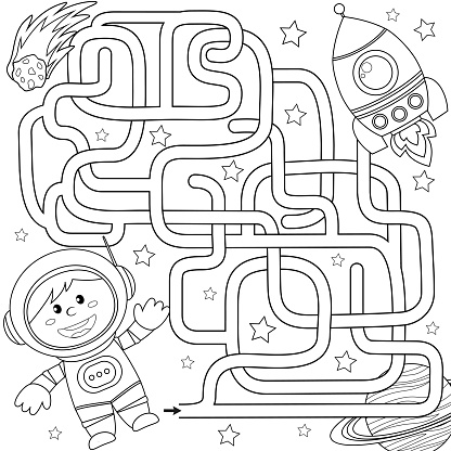 Help Cosmonaut Find Path To Rocket Labyrinth Maze Game For