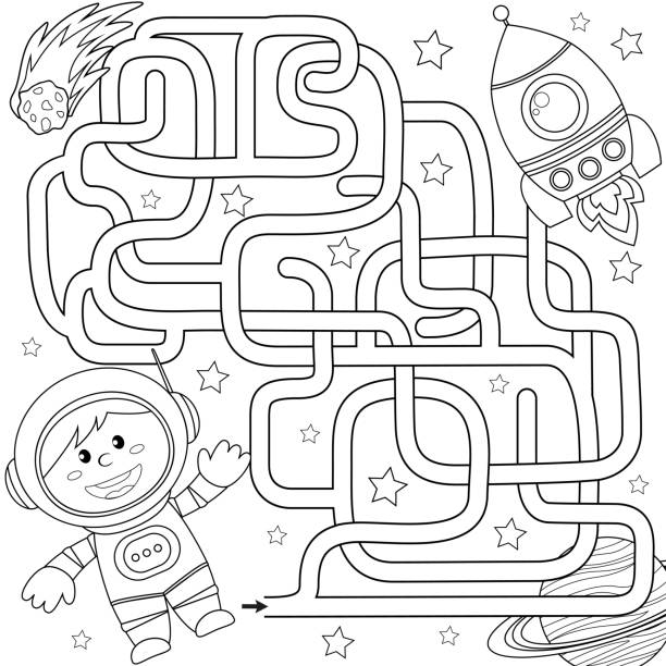 help cosmonaut find path to rocket. labyrinth. maze game for kids. black and white vector illustration for coloring book - coloring book pages templates stock illustrations