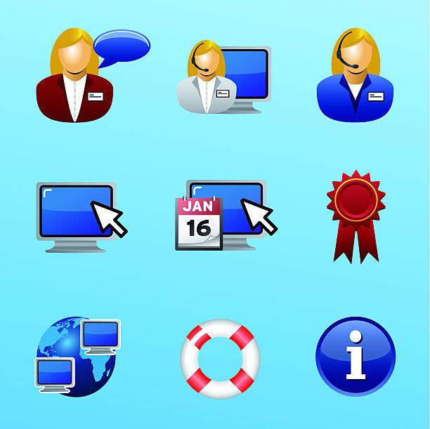 ilustraciones, imágenes clip art, dibujos animados e iconos de stock de mesa de ayuda y apoyo grupo de iconos - gerente de cuentas