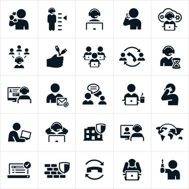 Help Desk Icons A set of help desk icons. The icons show several different help desk, IT and customer service representatives responding to work requests. call centre illustrations stock illustrations