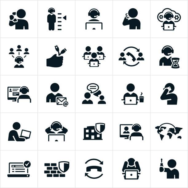 illustrations, cliparts, dessins animés et icônes de icônes pour bureau - centre d'appels