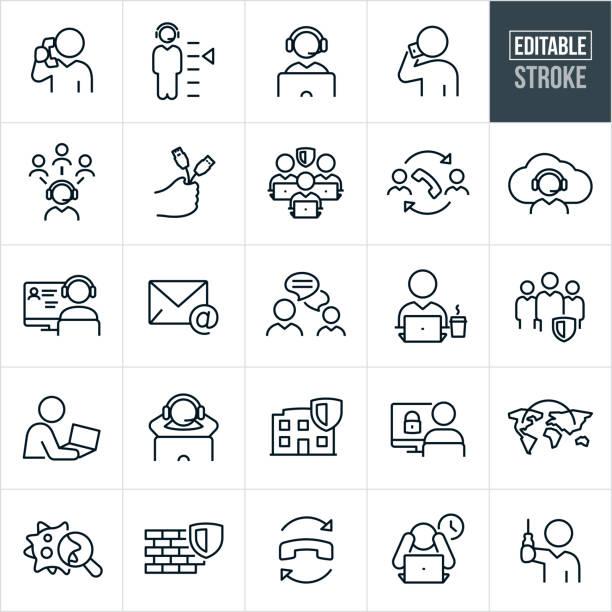 Help Desk Thin Line Icons - Editable Stroke vector art illustration
