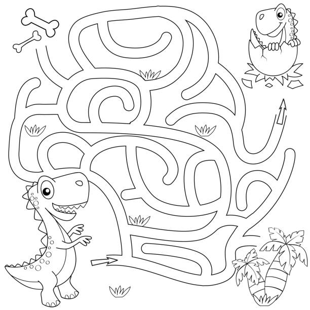 help dinosaur find path to nest. labyrinth. maze game for kids. black and white vector illustration for coloring book - coloring book pages templates stock illustrations