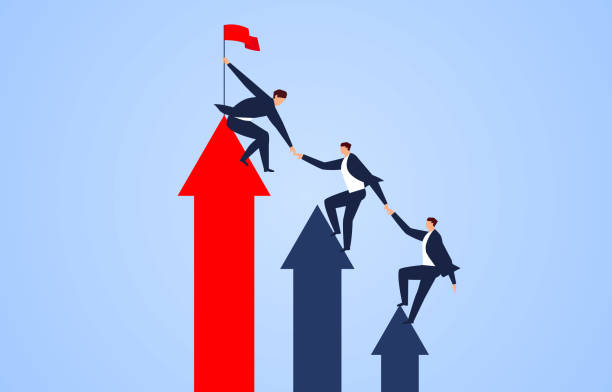 Help each other climb the arrows to reach the goal Help each other climb the arrows to reach the goal bailout stock illustrations