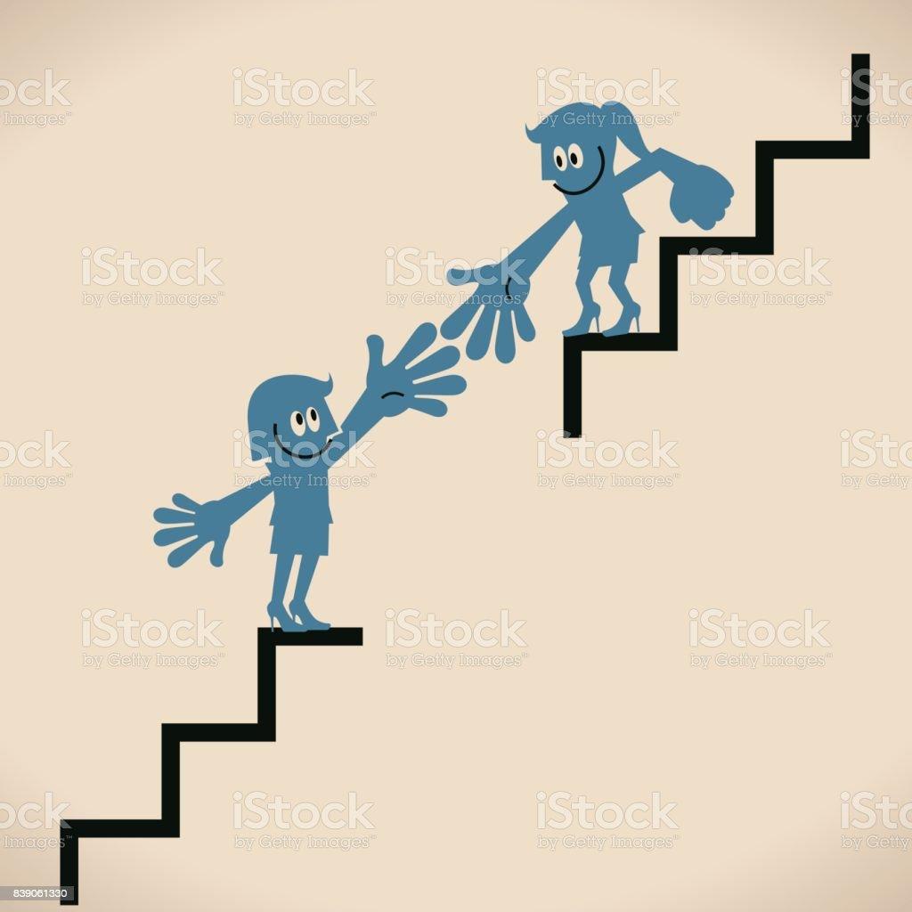 Helfen Sie Sich Gegenseitig Eine Geschäftsfrau Gebrochen Treppen ...