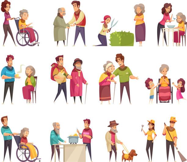 illustrazioni stock, clip art, cartoni animati e icone di tendenza di help eldderly people set - nonna e nipote camminare