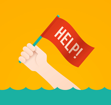 Help Flag Person Needing Rescue or Drowning