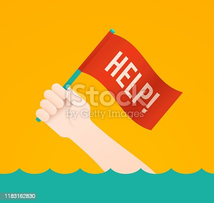 Help flag person needing to be rescued or drowning danger assistance concept.