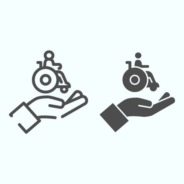 Help for people with disabilities line and solid icon. Disabled carriage vector illustration isolated on white. A hand holding a wheelchair with a patient outline style design, designed for web and app. Eps 10. Help for people with disabilities line and solid icon. Disabled carriage vector illustration isolated on white. A hand holding a wheelchair with a patient outline style design, designed for web and app. Eps 10 paraplegic stock illustrations