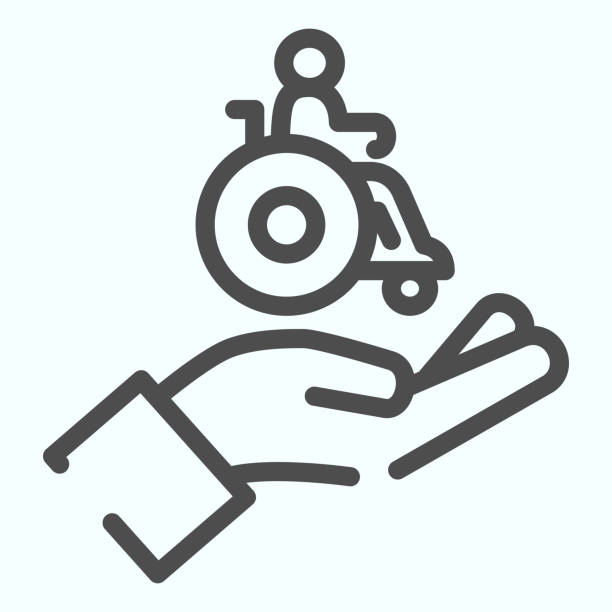 Help for people with disabilities line icon. Disabled carriage vector illustration isolated on white. A hand holding a wheelchair with a patient outline style design, designed for web and app. Eps 10. Help for people with disabilities line icon. Disabled carriage vector illustration isolated on white. A hand holding a wheelchair with a patient outline style design, designed for web and app. Eps 10 paraplegic stock illustrations