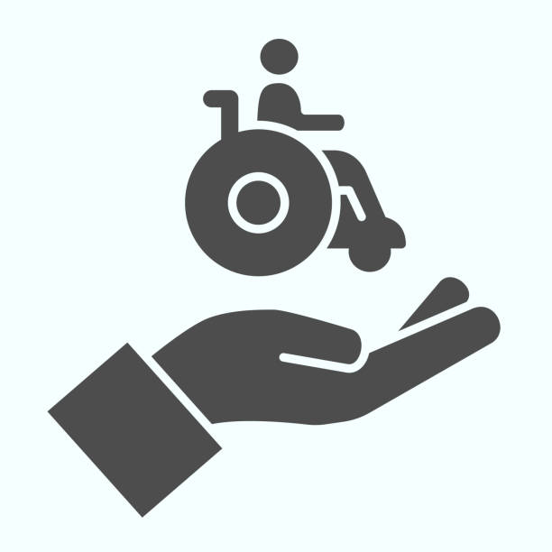 Help for people with disabilities solid icon. Disabled carriage vector illustration isolated on white. A hand holding a wheelchair with a patient glyph style design, designed for web and app. Eps 10. Help for people with disabilities solid icon. Disabled carriage vector illustration isolated on white. A hand holding a wheelchair with a patient glyph style design, designed for web and app. Eps 10 paraplegic stock illustrations