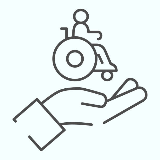 Help for people with disabilities thin line icon. Disabled carriage vector illustration isolated on white. A hand holding a wheelchair with a patient outline style design, designed for web and app. Eps 10. Help for people with disabilities thin line icon. Disabled carriage vector illustration isolated on white. A hand holding a wheelchair with a patient outline style design, designed for web and app. Eps 10 paraplegic stock illustrations