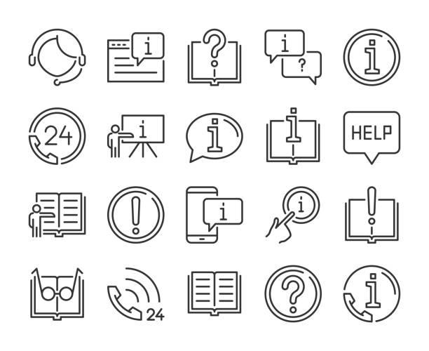 hilfe-symbol. hilfe- und support-liniensymbole festgelegt. vektor-illustration. - fremdenführer stock-grafiken, -clipart, -cartoons und -symbole