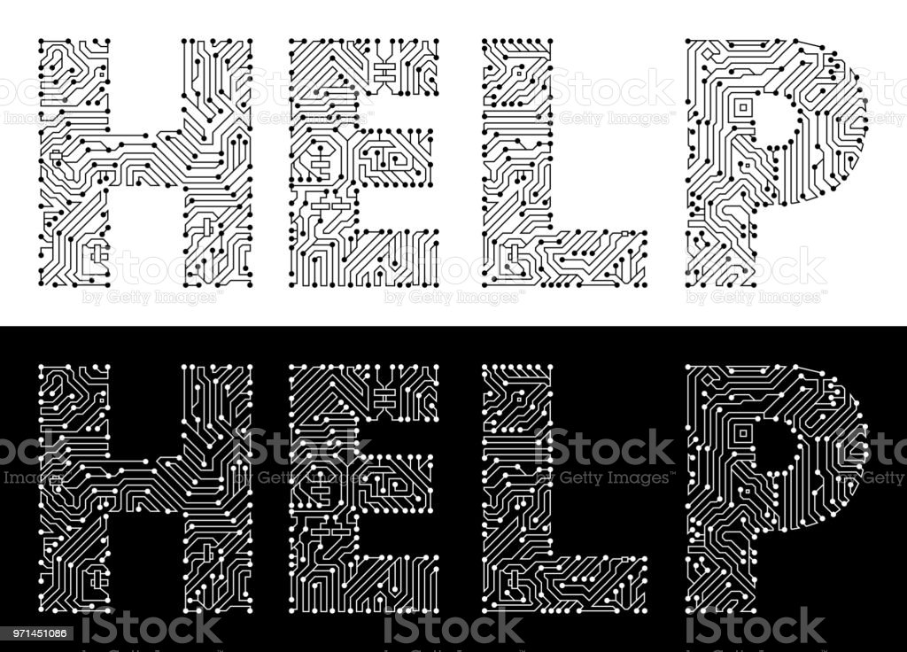 Help In Black And White Circuit Board Font Stock Vector Art & More ...