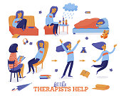 Help in depression set - young woman and therapist